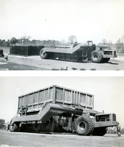 Tournalayer No. 2 in Longview, Texas 1946. Top images shows the inner form to the left and the lower image shows the outer form being lowered over the inner.  Image courtesy of the LeTourneau University Archives.