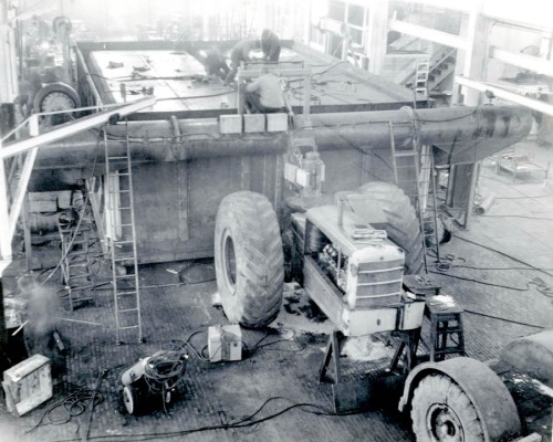Tournalayer No. 2 being crafted in Peoria, Illinois in February 1946.