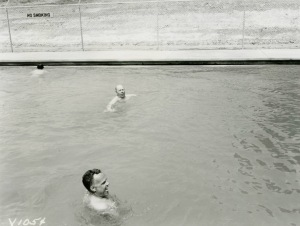 1955-04-14 Mr RG and Clyde Wilson In Pool