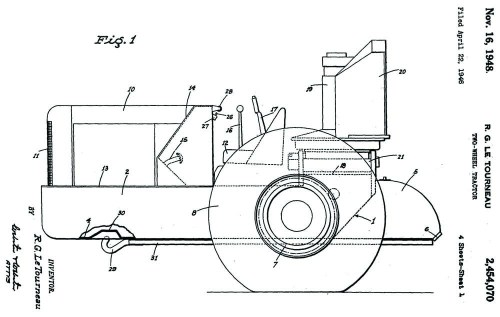 Figure 3. R.G. LeTourneau. 1946. Two-Wheel Tractor. US Patent 2,454,070, filed April 22, 1946 and issued Nov. 16, 1948.