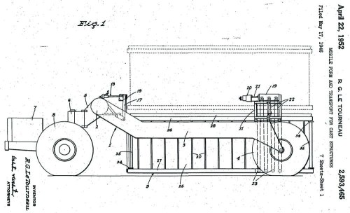 Figure 15. R.G. LeTourneau. 1946. Mobile Form and Transport for Cast Structures. US Patent 2,593,465, filed May 17, 1946 and issued April 22, 1952.