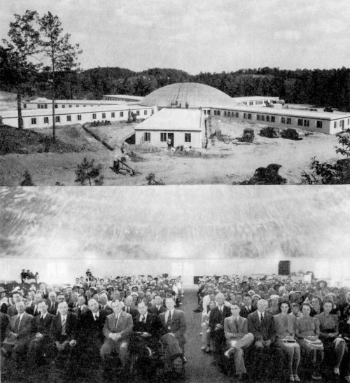 Figure 13. Caption: Camp Lake Louise Opens - Sunday June 2, (1940), opening services were held at the new hotel at Camp Lake Louise, Toccoa. Visitors had a chance to see the many new developments, as well as hear many inspiring messages. The completed building is shown above; the audience is shown below seated in the central lobby of the hotel.  Photograph from LeTourneau's in-house publication NOW vol. 5, no. 3 (June 7, 1940).  Note: R.G. LeTourneau is seated in the front left row fourth from the right. When LeTourneau was racecar mechanic in Stockton, he was involved in a serious wreck on a racetrack and broke his neck which left his head with a permanent tilt.