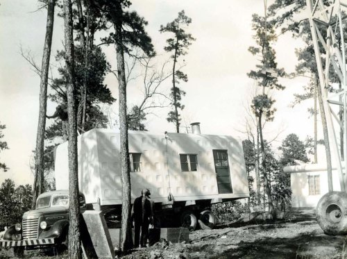 Figure 9. Photograph of a Tournapull Apart-Home in Toccoa, Georgia, 1942. Margaret Estes Library, LeTourneau University, Longview, Texas Robert G. LeTourneau Collection. Note the dimple-like ten-square panel design which brought the visual scale of the home down as opposed to the larger pattern.
