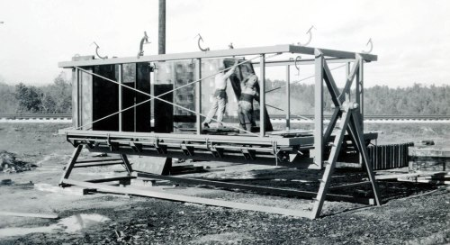 Figure 7. The Tournapull Apart-Home roll-over jig in Toccoa, Georgia, photograph, 1942. Margaret Estes Library, LeTourneau University, Longview, Texas Robert G. LeTourneau Collection.