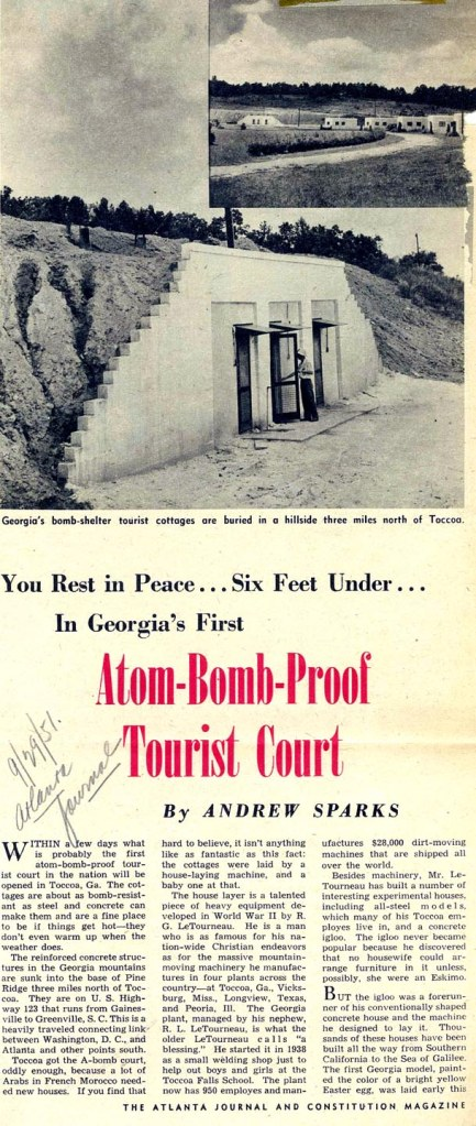 "Figure 21. Andrew Sparks, ""You Rest in Peace… Six Feet Under… in Georgia's First Atomic-Bomb-Proof Tourist Court."" The Atlanta Journal and Constitution Magazine (September 29 1951). Three covered Tournalayer units were laid individually then covered with earth and faced with a concrete masonry wall to retain the earth infill. Vegitation was intended to take over the earth infill."