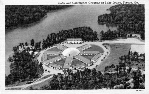 "Figure 14. Postcard caption: ""Hotel and Conference Grounds on Lake Louise, Toccoa, Ga."" Circa 1945, collection of the author.  Caption on reverse:  ""Hotel Lake Louise and Conference Grounds: World's only all-steel hotel, nestled in 5,000 acres of Georgia's most beautiful pine-covered hills, on the shore of an artificial lake, made and owned by R.G. LeTourneau Company, Swimming, boating, fishing, tennis. Accommodations and Christian environment for approximately 300 guests. Located on Highway 123, Toccoa, Ga."""